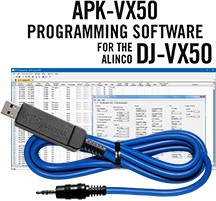 APK-VX50 Programming Software and USB-29A cable for the Alinco DJ-VX50