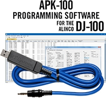 APK-100 Programming Software and USB-29A cable for the Alinco DJ-100