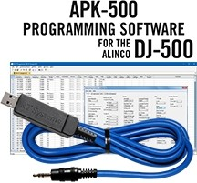 APK-500 Programming Software and USB-29A cable for the Alinco DJ-500