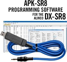 APK-SR8 Programming Software and USB-29A cable for the Alinco DX-SR8