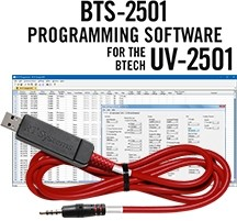 BTS-2501 Programming Software and USB-70 cable for the BTech UV-2501 radio