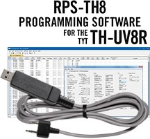 RPS-TH8 Programming Software and USB-K4Y cable for the TYT TH-UV8R, TH-F8, TH-UVF8, and TH-UVF8D Radios